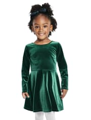 Baby And Toddler Girls Velour Cut Out Dress