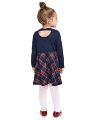 Tia's Pick - Baby And Toddler Girls Plaid Bow Back Skater Dress