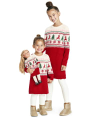 Baby And Toddler Girls Christmas Fairisle Sweater Dress
