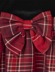 Toddler Girls Mommy And Me Plaid Velour Knit To Woven Dress