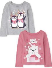 Toddler Girls Animal Graphic Tee 2-Pack