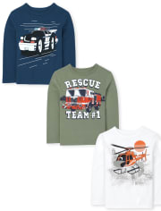 Toddler Boys Vehicle Graphic Tee 3-Pack