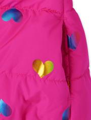 Veste matelassée à cœur arc-en-ciel pour toute-petite fille