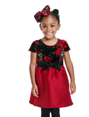 Toddler Girls Mommy And Me Floral Velour Dress