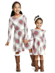 Baby And Toddler Girls Plaid Ruffle Skater Dress