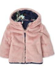 Toddler Girls Floral Faux Fur Reversible Jacket
