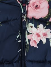 Girls Floral Puffer Jacket
