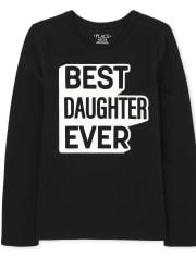 Camiseta con gráfico de hija de familia a juego para niñas