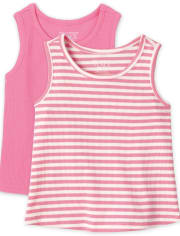 Baby And Toddler Girls Ribbed Tank Top 2-Pack