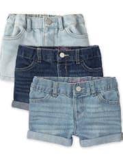 Toddler Girls Denim Shortie Shorts 3-Pack