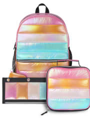 Girls Rainbow Quilted Backpack 3-Piece Set