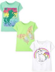 Girls Animal Graphic Tee 3-Pack