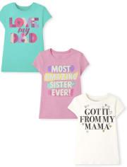 Girls Family Graphic Tee 3-Pack
