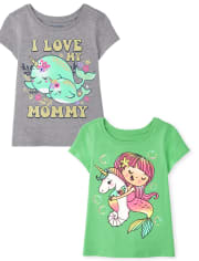 Baby And Toddler Girls Animal Graphic Tee 2-Pack
