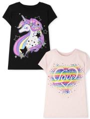 Girls Unicorn Love Graphic Tee 2-Pack