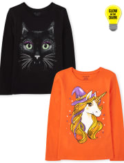 Girls Halloween Graphic Tee 2-Pack