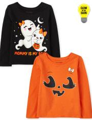 Toddler Girls Halloween Graphic Tee 2-Pack