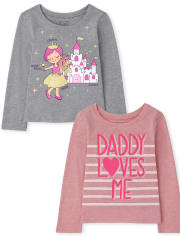 Toddler Girls Princess and Dad Graphic Tee 2-Pack