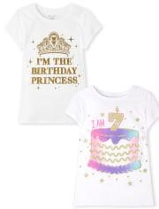 Girls 7th Birthday Graphic Tee 2-Pack