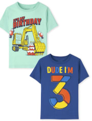 Toddler Boys 3rd Birthday Graphic Tee 2-Pack