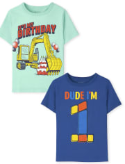 Toddler Boys 1st Birthday Graphic Tee 2-Pack