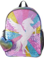 Girls Metallic Flip Sequin Unicorn Backpack 2-Piece Set