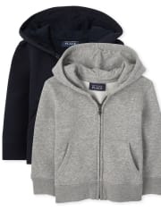 Toddler Boys Uniform Fleece Zip Up Hoodie 2-Pack
