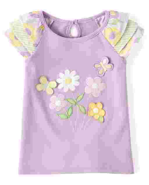 Girls Short Sleeve Embroidered Flowers And Butterflies Ruffle Top - Pocketful Of Posies