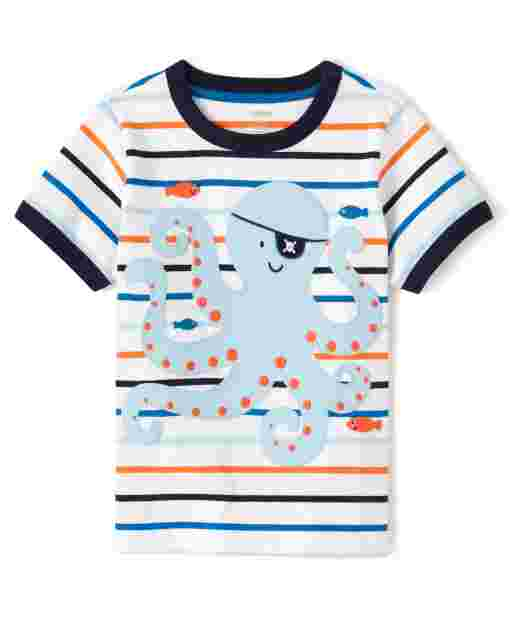 Boys Short Sleeve Peek-A-Boo Flap Art Octopus Striped Top - Whale Hello There