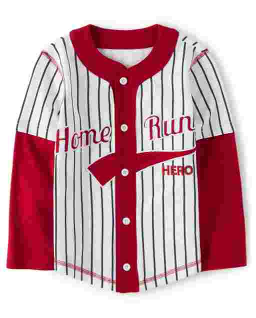 Boys Long Sleeve Embroidered 'Home Run' Striped Baseball Jersey - Opening Day