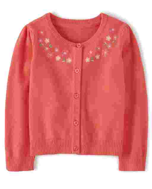 Girls Long Sleeve Embroidered Flowers Cardigan - Fairy Blossom