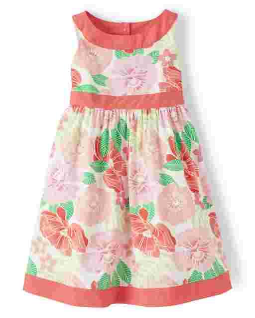 Girls Sleeveless Floral Print Poplin Dress - Fairy Blossom