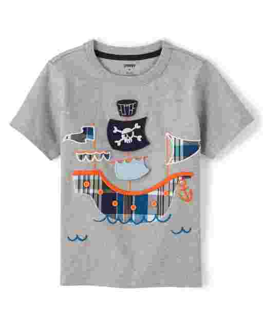 Boys Short Sleeve Peek-A-Boo Flap Art Plaid Pirate Ship Patch Top - Whale Hello There
