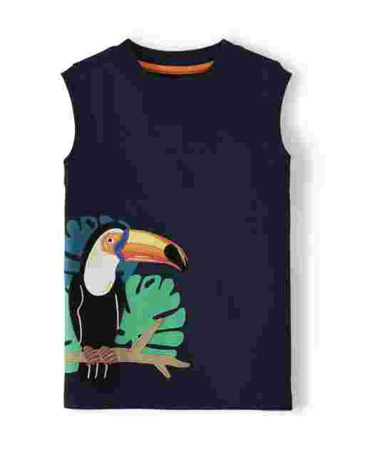 Boys Sleeveless Embroidered Applique Toucan Tank Top - Summer Safari