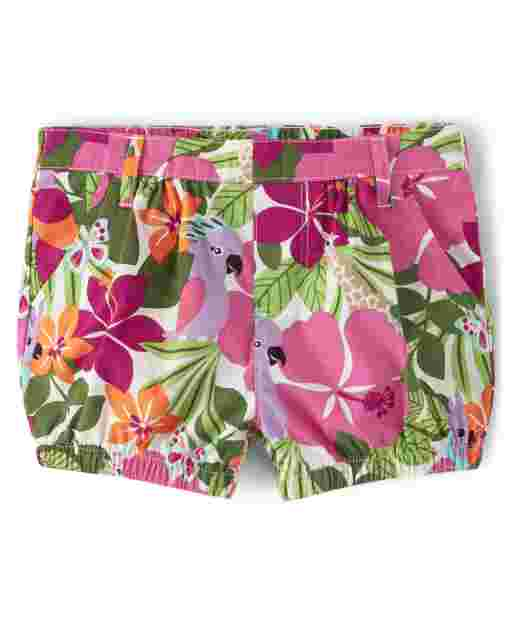 Girls Tropical Flower Print Poplin Pull On Bubble Shorts - Summer Safari
