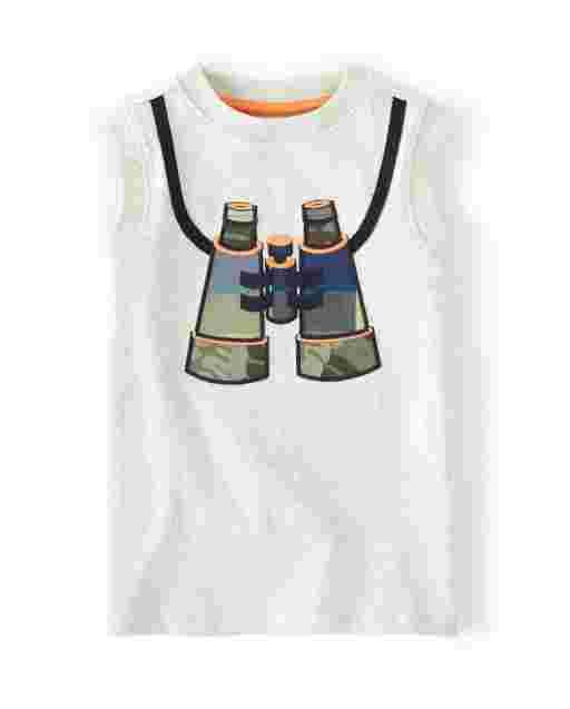 Boys Sleeveless Embroidered Plaid Binoculars Tank Top - Summer Safari