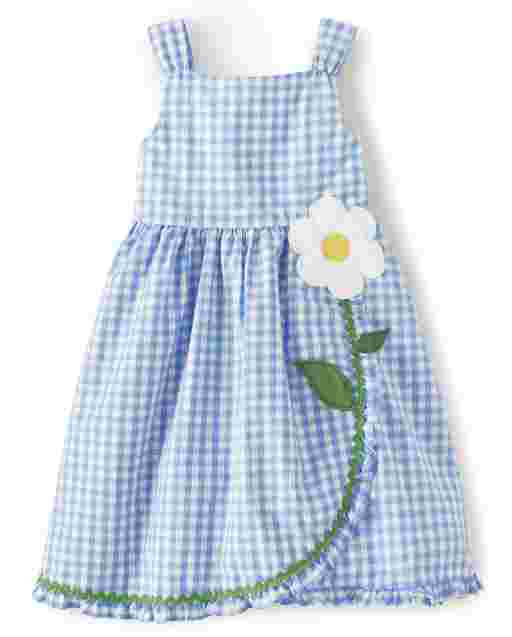 Girls Sleeveless Embroidered Flower Gingham Poplin Ruffle Dress - Sunny Daisies