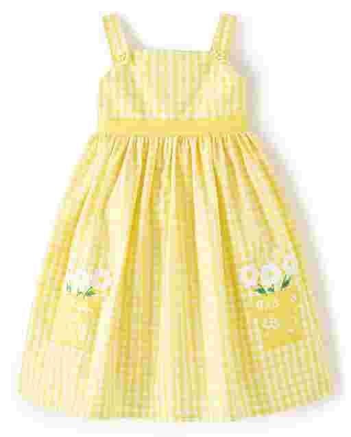 Girls Sleeveless Embroidered Applique Flower Pot Gingham Poplin Dress - Sunny Daisies