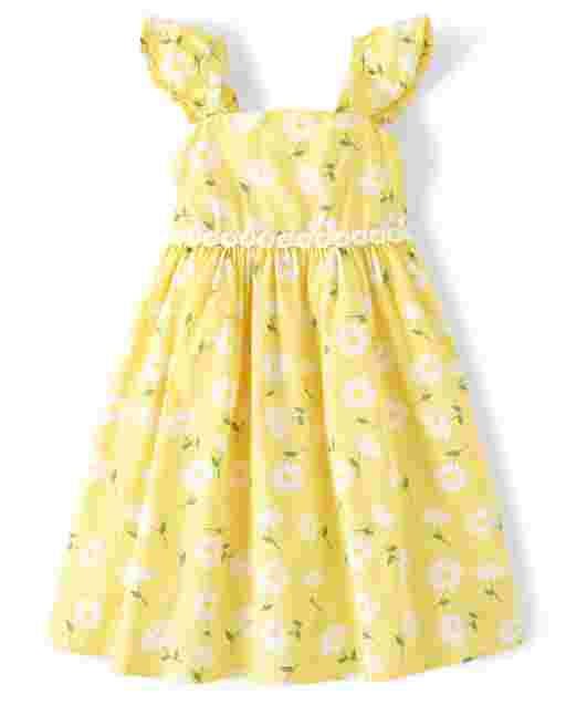 Girls Sleeveless Floral Print Poplin Dress - Sunny Daisies