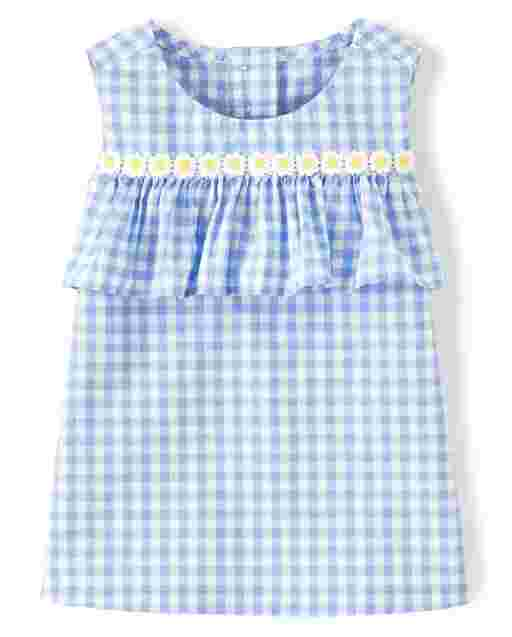 Girls Sleeveless Gingham Poplin Ruffle Top - Sunny Daisies