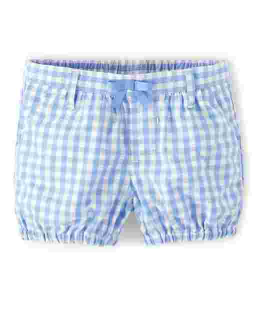 Girls Gingham Poplin Pull On Bubble Shorts - Sunny Daisies