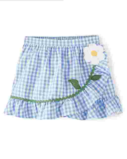 Girls Embroidered Flower Gingham Poplin Ruffle Skort - Sunny Daisies