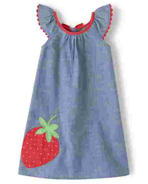 Girls Short Sleeve Embroidered Eyelet Strawberry Chambray Shift Dress - Strawberry Patch