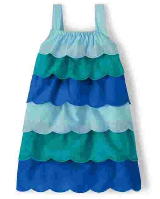 Girls Sleeveless Scalloped Woven Tiered Dress - Under The Sea