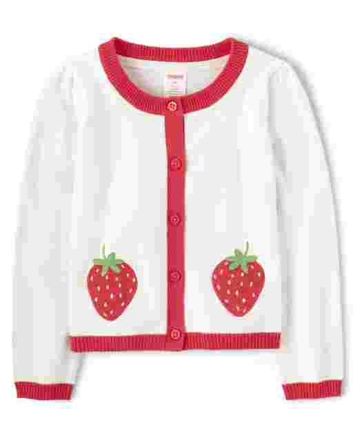 Girls Long Sleeve Embroidered Applique Strawberry Cardigan - Strawberry Patch