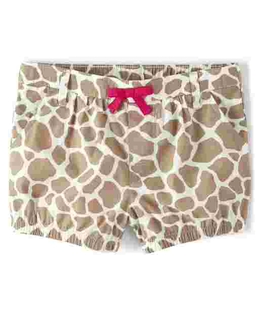 Girls Giraffe Print Poplin Pull On Bubble Shorts - Summer Safari