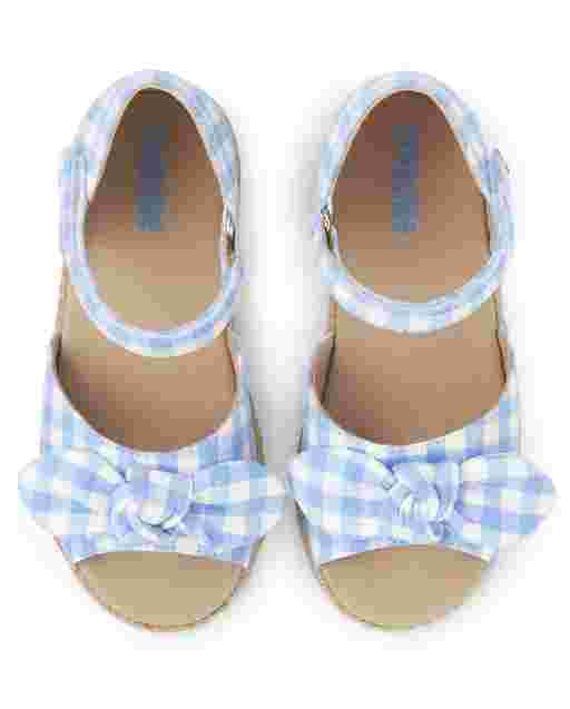 Girls Gingham Espadrille Sandals - Sunny Daisies