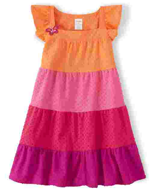 Girls Short Flutter Sleeve Colorblock Jacquard Knit Tiered Dress - Summer Safari