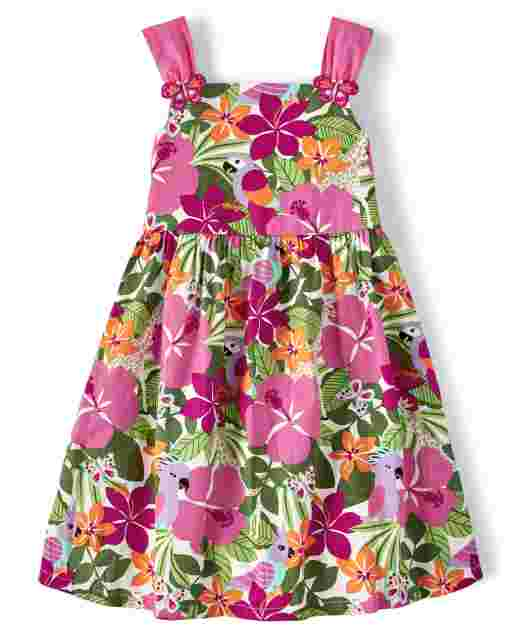 Girls Sleeveless Tropical Flower Print Poplin Dress - Summer Safari