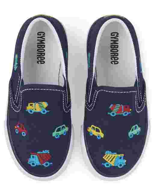 Boys Transportation Print Slip On Sneakers - Travel Adventure